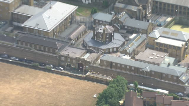 aerial views of hm prison brixton on july 03 2014 in london england - prison icon stock videos & royalty-free footage