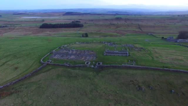 Aerial views of Housesteads Roman Fort Hadrian's Wall Northumberland England UK