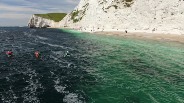 aerial views of kayakers - oar stock videos & royalty-free footage