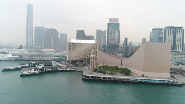 aerial views of kowloon harbor, hong kong - tsim sha tsui stock videos & royalty-free footage