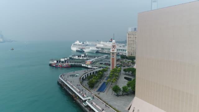 Aerial views of Kowloon harbor, Hong Kong