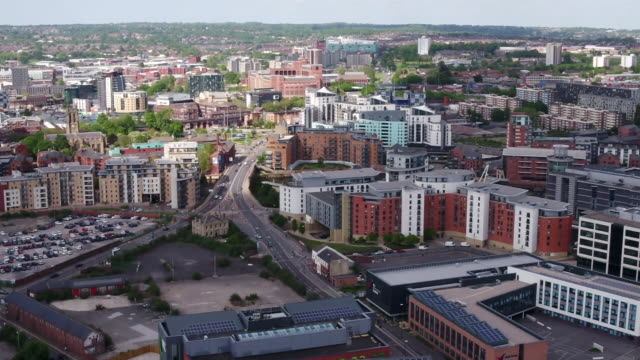 aerial views of leeds - horizon over land stock videos & royalty-free footage