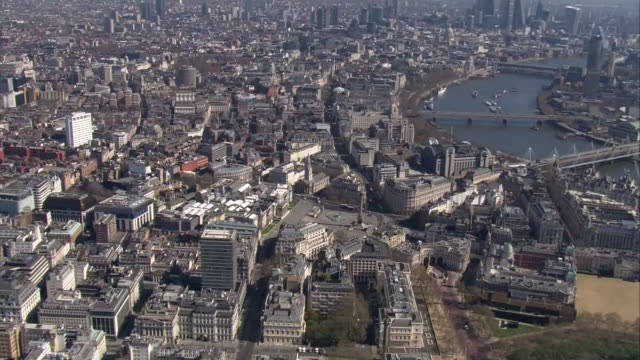 aerial views of leicester square surrounded by empty streets during the coronavirus outbreak and lockdown on 25th march 2020 london united kingdom - central london video stock e b–roll