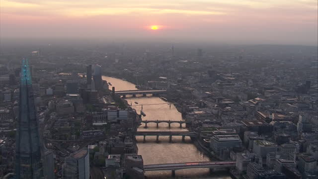 aerial views of london at sunset. - twilight stock videos & royalty-free footage