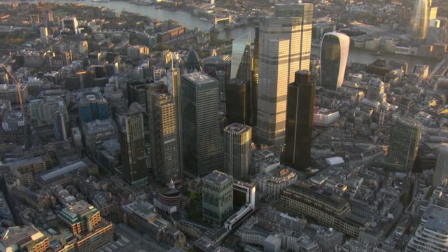 aerial views of london skyline including city of london skyscrapers on 4th november 2020 london, united kingdom. - london england stock videos & royalty-free footage