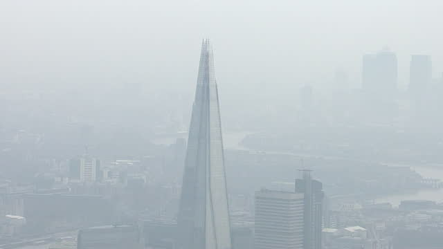 Aerial views of London with signs of Air Pollution and heavy smog on April 10 2015 in London England