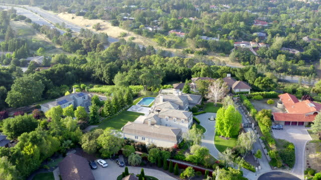 aerial views of los altos hills, california - silicon valley stock videos & royalty-free footage
