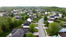 Aerial views of neighborhood in the rolling hills of Tennessee