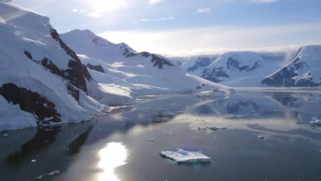 aerial views of neko harbour, antarctica - antarctica drone stock videos & royalty-free footage