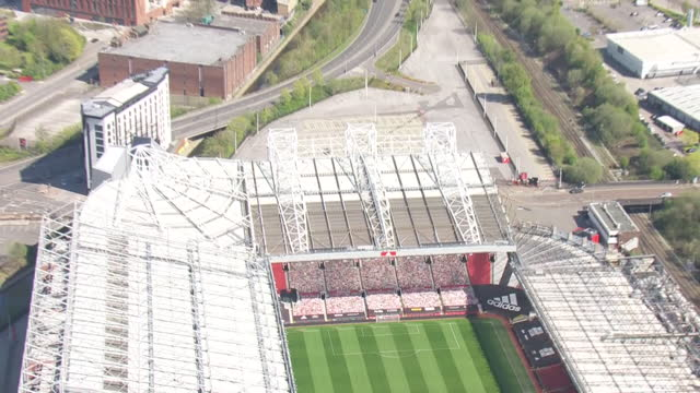 aerial views of old trafford football stadium home of manchester united football club on 19th april 2021 manchester, united kingdom. - stadium stock videos & royalty-free footage