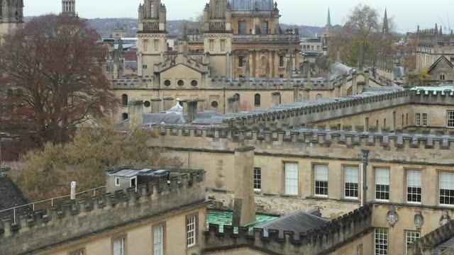 aerial views of oxford university - oxford universität stock-videos und b-roll-filmmaterial
