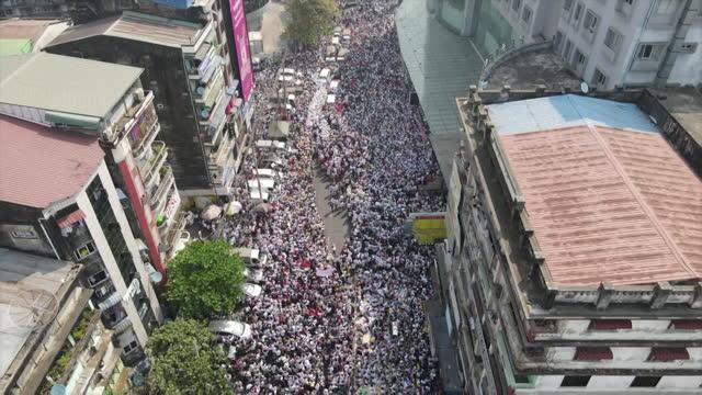aerial views of pro-democracy protests in yangon, myanmar - protestor stock videos & royalty-free footage
