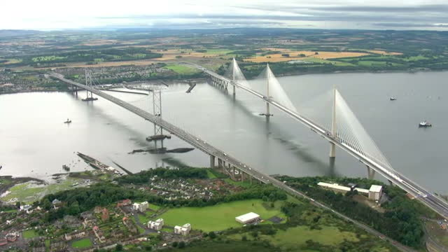 Aerial views of Queensferry Bridge on 4th September 2017 Edinburgh Scotland