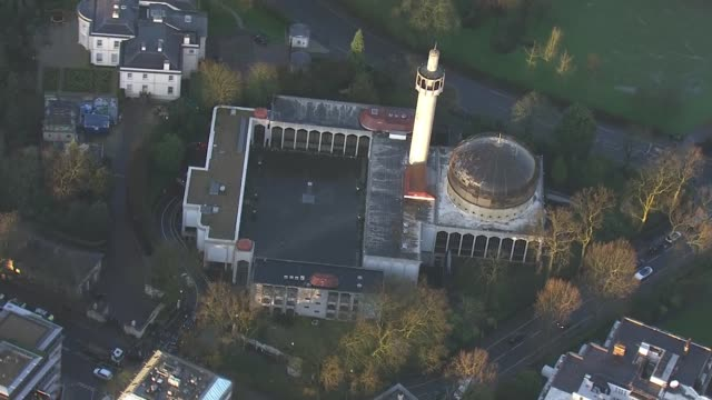 aerial views of regent's park mosque after stabbing incident england london london central mosque / police cars along road - london central mosque stock videos & royalty-free footage