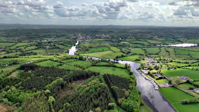 aerial views of river erne in cavan near border - ireland stock videos & royalty-free footage