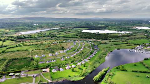 aerial views of river erne in cavan near border - human made stock videos & royalty-free footage