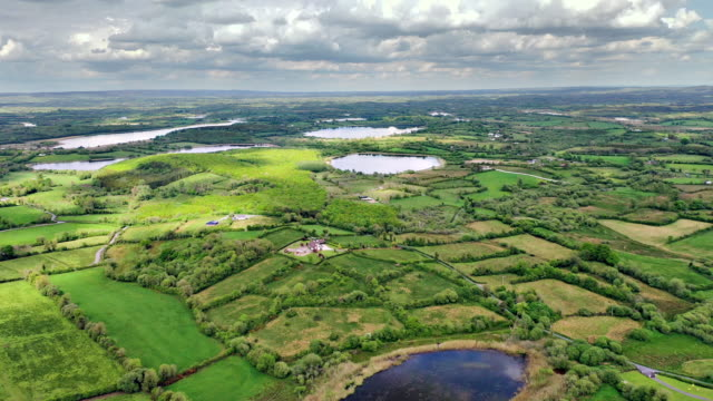 aerial views of river erne in cavan near border - water stock videos & royalty-free footage