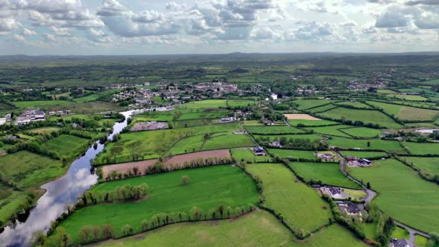 aerial views of river erne in cavan near border - northern ireland stock videos & royalty-free footage