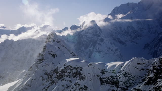 aerial views of ruth glacier in alaska - dramatic landscape stock videos & royalty-free footage