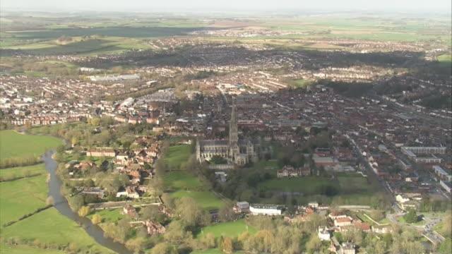 stockvideo's en b-roll-footage met aerial views of salisbury wiltshire - wiltshire