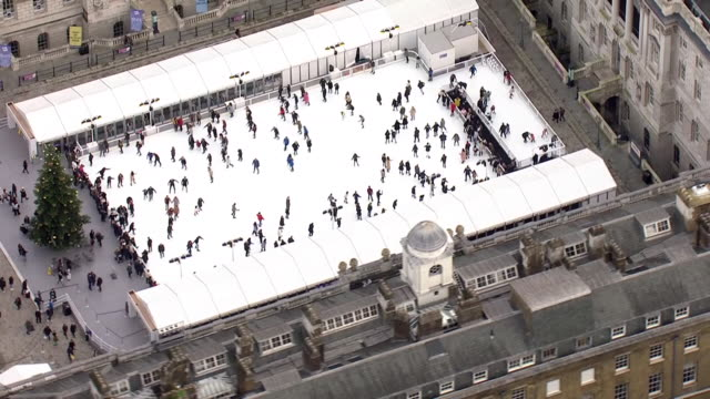 aerial views of somerset house with christmas lights and ice rink on december 22 2019 london england - ice rink stock videos & royalty-free footage