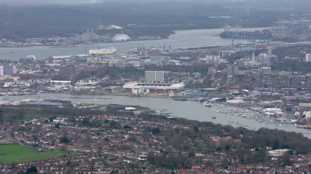 aerial views of st mary's stadium home of southampton football club int the english premier league on february 10 2016 in london england - イングランド サウサンプトン点の映像素材/bロール