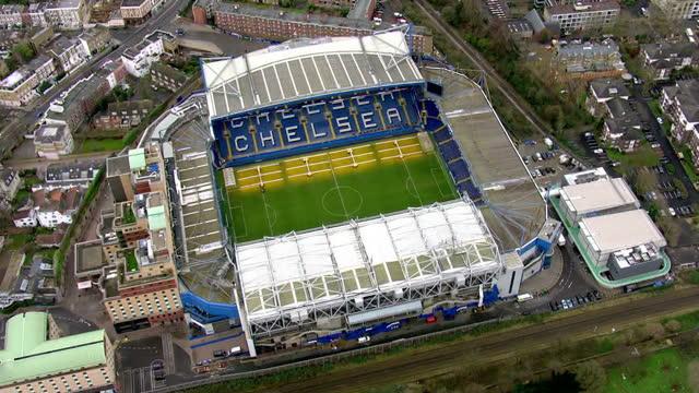 aerial views of stamford bridge stadium home of chelsea football club in the english premier league on february 10 2016 in london england - チェルシーfc点の映像素材/bロール
