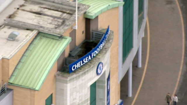 aerial views of stamford bridge stadium home of chelsea football club in the english premier league on february 10 2016 in london england - スタンフォードブリッジ点の映像素材/bロール