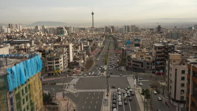 aerial views of streets and landmarks in tehran iran - teheran video stock e b–roll