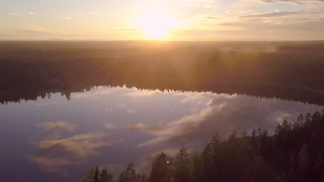 Aerial views of Swedish lake at midsummer during sunset