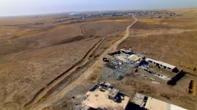 aerial views of territory on the outskirts of mosul reclaimed from islamic state by peshmerga fighters - mosul stock videos and b-roll footage
