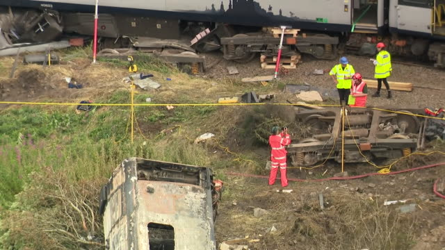 aerial views of the aberdeenshire train crash wreckage - crash stock videos & royalty-free footage