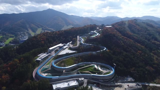 Aerial views of The Alpensia Sliding Center the venue for luge bobsleigh and skeleton events at the 2018 PyeongChang Winter Olympic Games taken above...