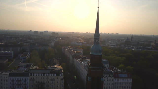 Aerial views of the Berlin skyline and church with cross