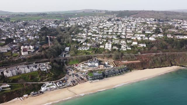 aerial views of the carbis bay hotel and the village of carbis bay. the location of the 2021 g7 summit. a small village in cornwall, in the far south... - produced segment stock videos & royalty-free footage