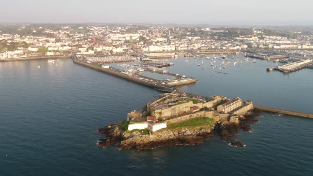 aerial views of the channel islands - guernsey stock videos & royalty-free footage