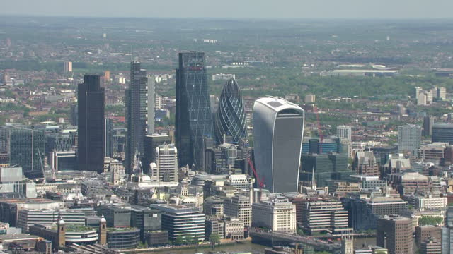 aerial views of the city of london skyscrapers including leadenhall building aka cheese grater 20 fenchurch street aka the walkie talkie 30 st mary... - grater utensil stock videos & royalty-free footage