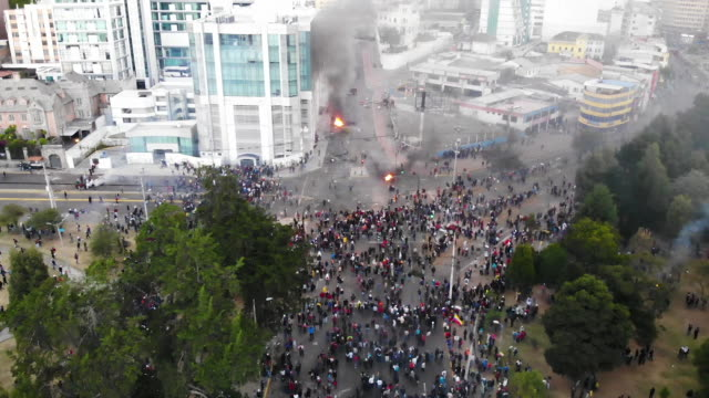 aerial views of the city of quito in ecuador during demonstrations against president lenin economic measures on october 9 2019 president of ecuador... - ecuador stock videos & royalty-free footage