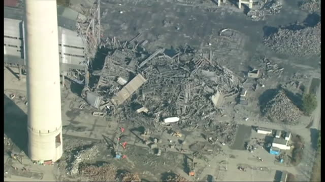 Aerial views of the damage and rubble left behind from the Didcot Power Station collapse