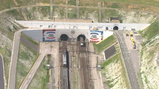 Aerial views of the Euro Tunnel entrance to the Channel Tunnel with freight trains entering and leaving on July 21 2015 in Calais France