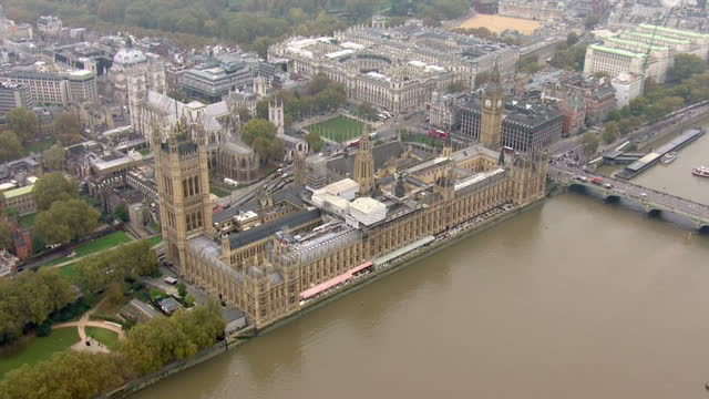 Aerial views of The Houses of Parliament Big Ben and the Palace of Westminster on 3rd November 2015 in London England