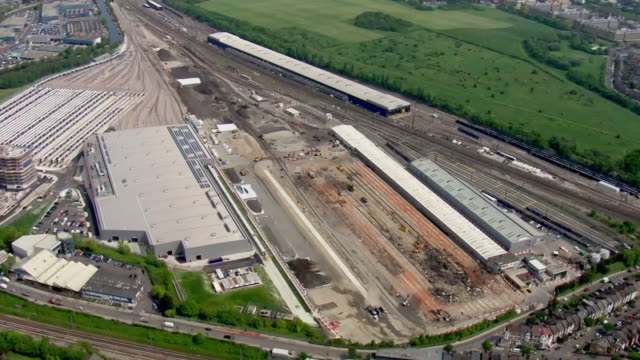aerial views of the old oak common railway depot, site of the the planned old oak common hs2 railway station and super hub connection with crossrail... - connection stock videos & royalty-free footage
