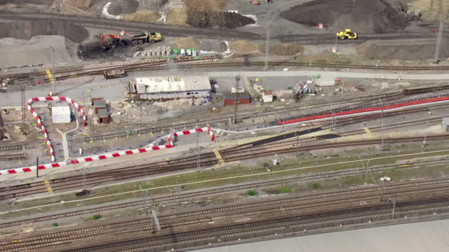 aerial views of the old oak common railway depot, site of the the planned old oak common hs2 railway station and super hub connection with crossrail,... - connection stock videos & royalty-free footage