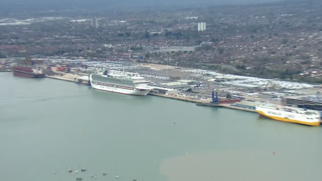 aerial views of the port of southampton and dock cruise ships during the coronavirus epidemic on 30th march 2020 southampton, united kingdom. - cruise stock videos & royalty-free footage