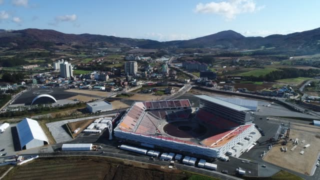 Aerial Views of the Pyeongchang Olympic Stadium lower right the venue for the opening and closing ceremonies at the 2018 PyeongChang Winter Olympic...