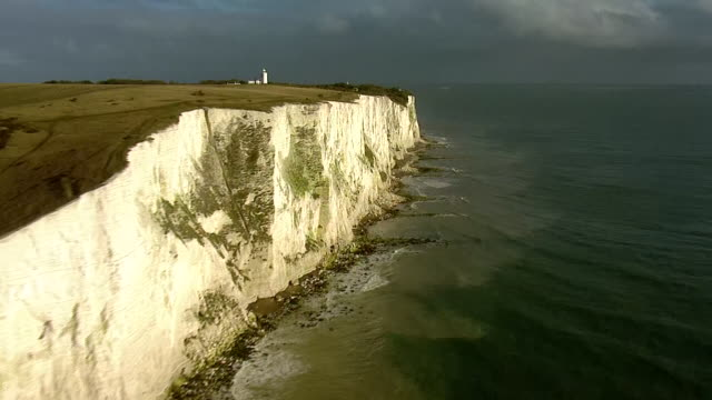 aerial views of the white cliffs of dover. - sea channel stock videos & royalty-free footage