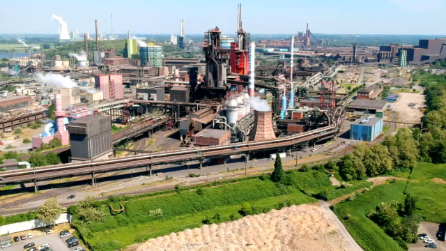 aerial views of thyssenkrupp steelworks duisburg germany - metal blend stock videos and b-roll footage