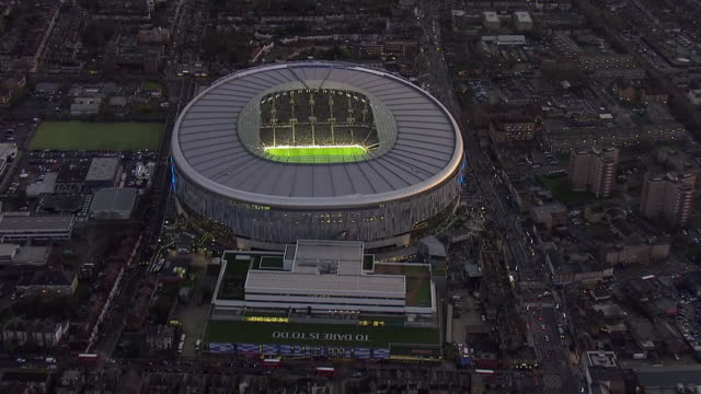 aerial views of tottenham hotspur stadium before their match with chelsea fc on december 22 2019 london england - stadium stock videos & royalty-free footage