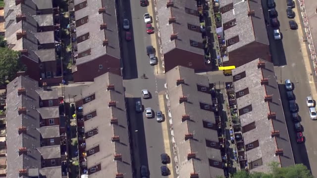 aerial views of trafford, greater manchester - aircraft point of view stock videos & royalty-free footage