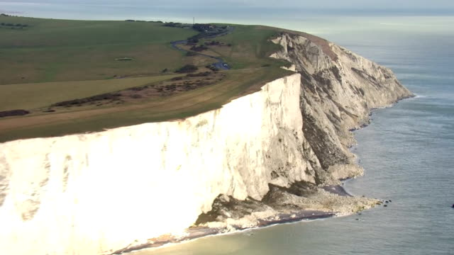 Aerial views of White Cliffs around Beachy Head on 21st February 2018 Eastbourne England